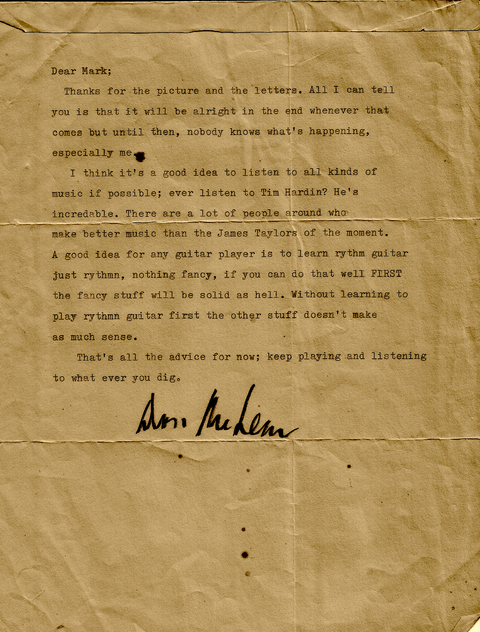 A Letter from Don McLean. By way of Caffè Lena | Caffè Lena